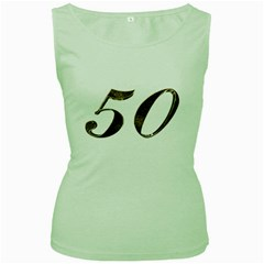 Number 50 Elegant Gold Glitter Look Typography 50th Anniversary Women s Green Tank Top