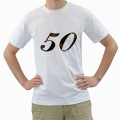 Number 50 Elegant Gold Glitter Look Typography 50th Anniversary Men s T-Shirt (White) (Two Sided)