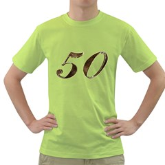 Number 50 Elegant Gold Glitter Look Typography 50th Anniversary Green T-Shirt