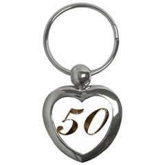 Number 50 Elegant Gold Glitter Look Typography 50th Anniversary Key Chains (heart)