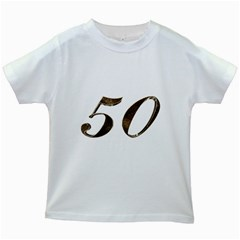 Number 50 Elegant Gold Glitter Look Typography 50th Anniversary Kids White T-Shirts