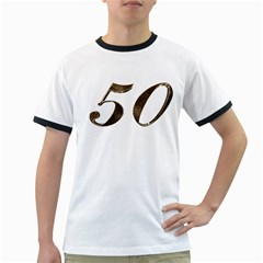 Number 50 Elegant Gold Glitter Look Typography 50th Anniversary Ringer T-Shirts