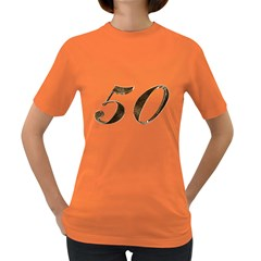 Number 50 Elegant Gold Glitter Look Typography 50th Anniversary Women s Dark T Shirt