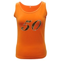 Number 50 Elegant Gold Glitter Look Typography 50th Anniversary Women s Dark Tank Top