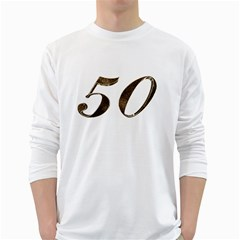 Number 50 Elegant Gold Glitter Look Typography 50th Anniversary White Long Sleeve T-Shirts
