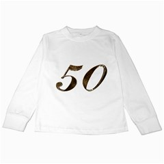 Number 50 Elegant Gold Glitter Look Typography 50th Anniversary Kids Long Sleeve T-Shirts