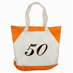Number 50 Elegant Gold Glitter Look Typography 50th Anniversary Accent Tote Bag