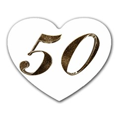Number 50 Elegant Gold Glitter Look Typography 50th Anniversary Heart Mousepads