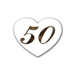 Number 50 Elegant Gold Glitter Look Typography 50th Anniversary Rubber Coaster (Heart)