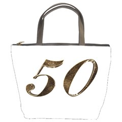 Number 50 Elegant Gold Glitter Look Typography 50th Anniversary Bucket Bags