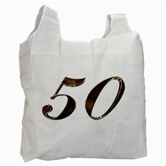 Number 50 Elegant Gold Glitter Look Typography 50th Anniversary Recycle Bag (two Side)