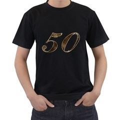Number 50 Elegant Gold Glitter Look Typography 50th Anniversary Men s T-Shirt (Black)