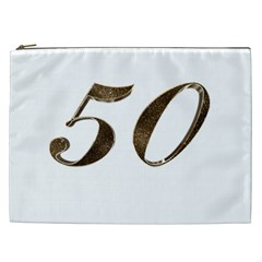 Number 50 Elegant Gold Glitter Look Typography 50th Anniversary Cosmetic Bag (XXL)