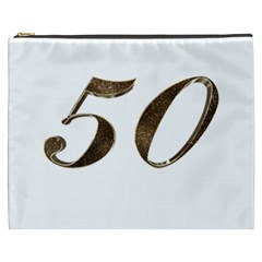 Number 50 Elegant Gold Glitter Look Typography 50th Anniversary Cosmetic Bag (xxxl)