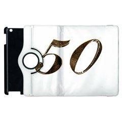 Number 50 Elegant Gold Glitter Look Typography 50th Anniversary Apple iPad 3/4 Flip 360 Case