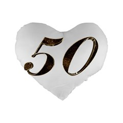 Number 50 Elegant Gold Glitter Look Typography 50th Anniversary Standard 16  Premium Heart Shape Cushions