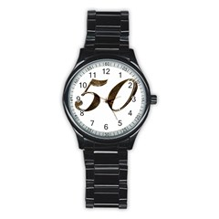 Number 50 Elegant Gold Glitter Look Typography 50th Anniversary Stainless Steel Round Watch