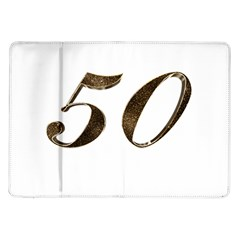 Number 50 Elegant Gold Glitter Look Typography 50th Anniversary Samsung Galaxy Tab 10.1  P7500 Flip Case