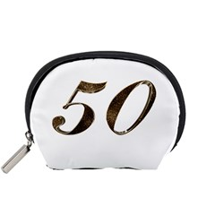 Number 50 Elegant Gold Glitter Look Typography 50th Anniversary Accessory Pouches (small)