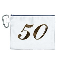 Number 50 Elegant Gold Glitter Look Typography 50th Anniversary Canvas Cosmetic Bag (L)