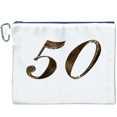 Number 50 Elegant Gold Glitter Look Typography 50th Anniversary Canvas Cosmetic Bag (XXXL)