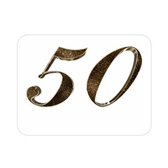 Number 50 Elegant Gold Glitter Look Typography 50th Anniversary Double Sided Flano Blanket (Mini)