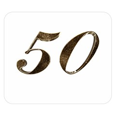 Number 50 Elegant Gold Glitter Look Typography 50th Anniversary Double Sided Flano Blanket (Small)