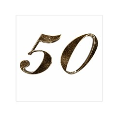 Number 50 Elegant Gold Glitter Look Typography 50th Anniversary Small Satin Scarf (square)