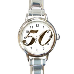 Number 50 Elegant Gold Glitter Look Typography Round Italian Charm Watch