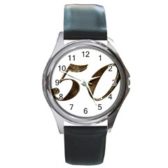 Number 50 Elegant Gold Glitter Look Typography Round Metal Watch
