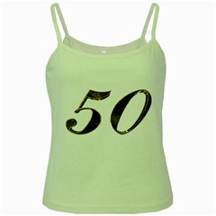 Number 50 Elegant Gold Glitter Look Typography Green Spaghetti Tank