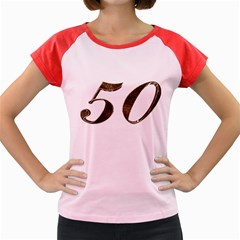 Number 50 Elegant Gold Glitter Look Typography Women s Cap Sleeve T-Shirt