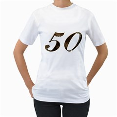 Number 50 Elegant Gold Glitter Look Typography Women s T-Shirt (White) (Two Sided)