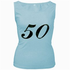 Number 50 Elegant Gold Glitter Look Typography Women s Baby Blue Tank Top