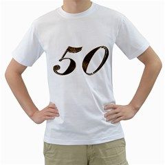 Number 50 Elegant Gold Glitter Look Typography Men s T-Shirt (White) (Two Sided)