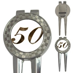 Number 50 Elegant Gold Glitter Look Typography 3 In 1 Golf Divots