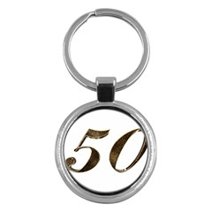 Number 50 Elegant Gold Glitter Look Typography Key Chains (round)