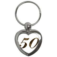 Number 50 Elegant Gold Glitter Look Typography Key Chains (heart)