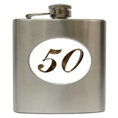Number 50 Elegant Gold Glitter Look Typography Hip Flask (6 oz)