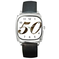 Number 50 Elegant Gold Glitter Look Typography Square Metal Watch