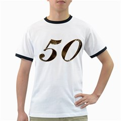 Number 50 Elegant Gold Glitter Look Typography Ringer T-Shirts