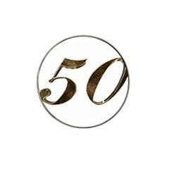 Number 50 Elegant Gold Glitter Look Typography Hat Clip Ball Marker (10 Pack)