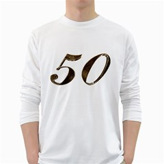 Number 50 Elegant Gold Glitter Look Typography White Long Sleeve T Shirts
