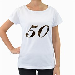Number 50 Elegant Gold Glitter Look Typography Women s Loose-Fit T-Shirt (White)