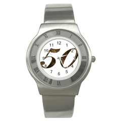 Number 50 Elegant Gold Glitter Look Typography Stainless Steel Watch