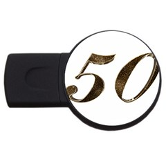 Number 50 Elegant Gold Glitter Look Typography USB Flash Drive Round (4 GB)