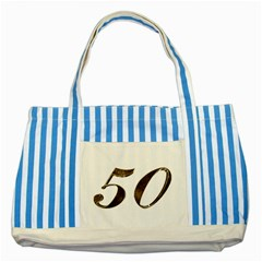 Number 50 Elegant Gold Glitter Look Typography Striped Blue Tote Bag