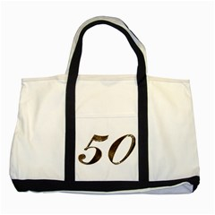 Number 50 Elegant Gold Glitter Look Typography Two Tone Tote Bag