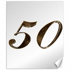 Number 50 Elegant Gold Glitter Look Typography Canvas 8  X 10