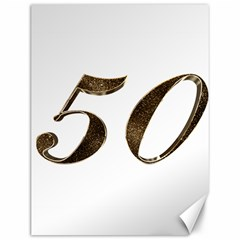 Number 50 Elegant Gold Glitter Look Typography Canvas 12  x 16